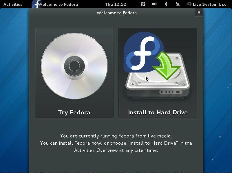 Fedora Linux 18 Gnome3 Starting Installation
