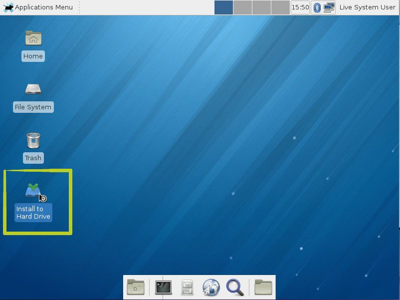 Fedora Linux 18 Xfce Live Starting Installation