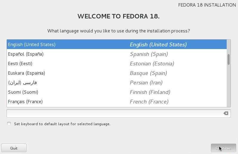 Fedora Linux 18 Installation Choose Language