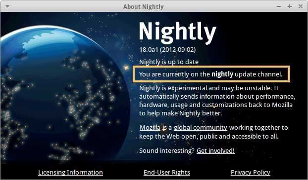 About Firefox Nightly