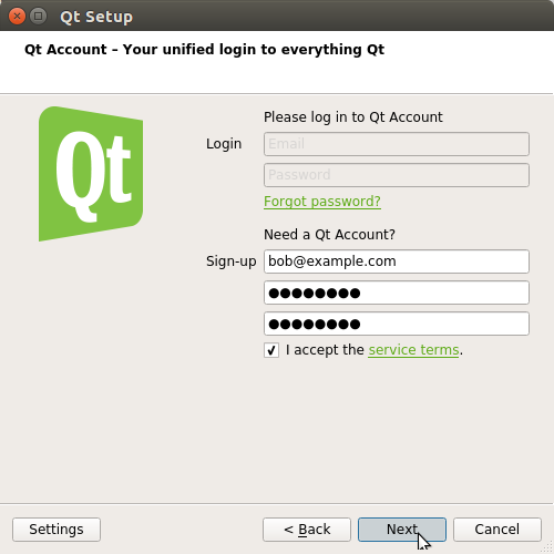 How to Install Qt Creator on Kali Linux 2018 - account setup