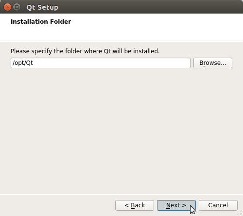 How to Install QT5 and Qt Creator on PCLinuxOS - set installation folder