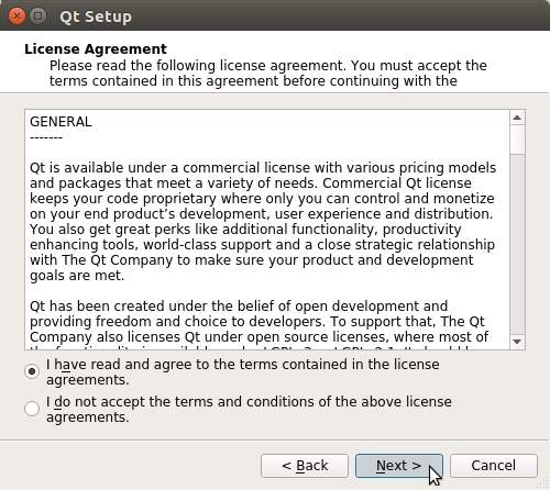 QT5 Quick Start for Kubuntu 17.04 Zesty - license agreement
