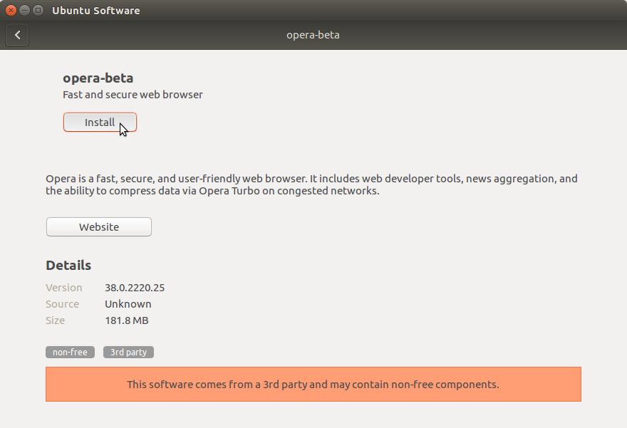 How to Install Opera Ubuntu 16.04 Xenial - Installing