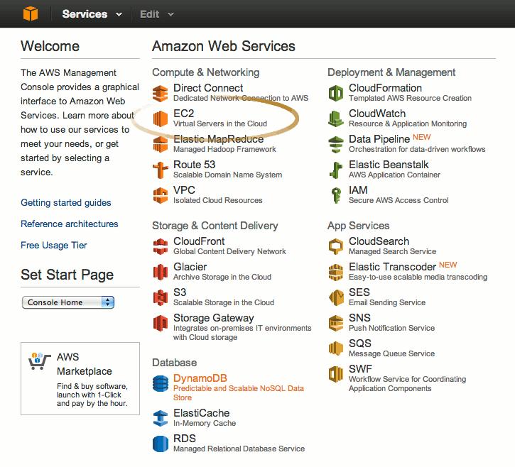 Amazon AWS EC2 Console