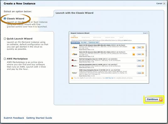 Amazon AWS EC2 Creating Instance - Classic Wizard