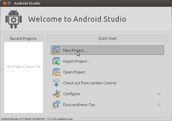 CentOS Install Android Studio IDE - Android Studio IDE Start