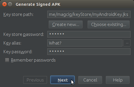 Android Studio Generate Signed APK Done