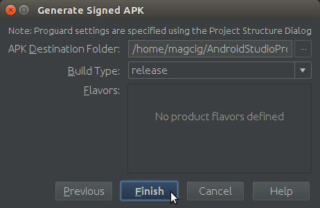 Android Studio App Destination Folder