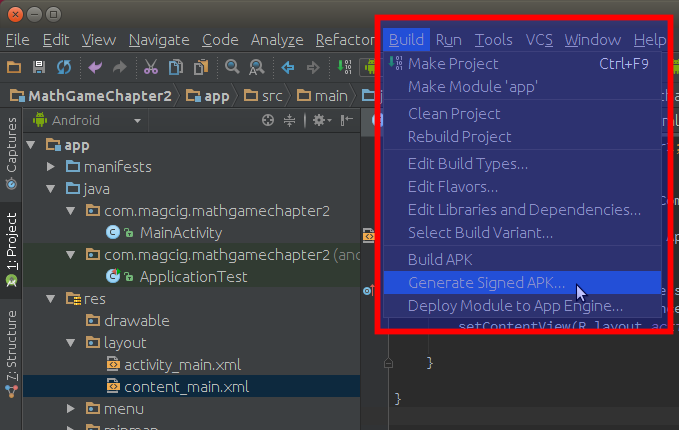 Android Studio - Select Build Signed APK