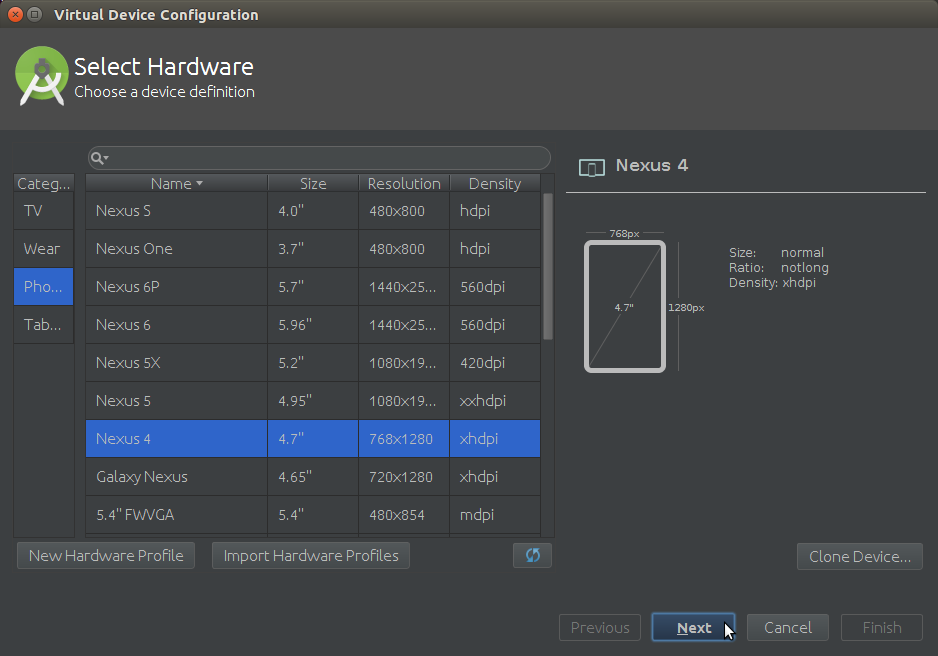 Android AVD Select Android Device Hardware
