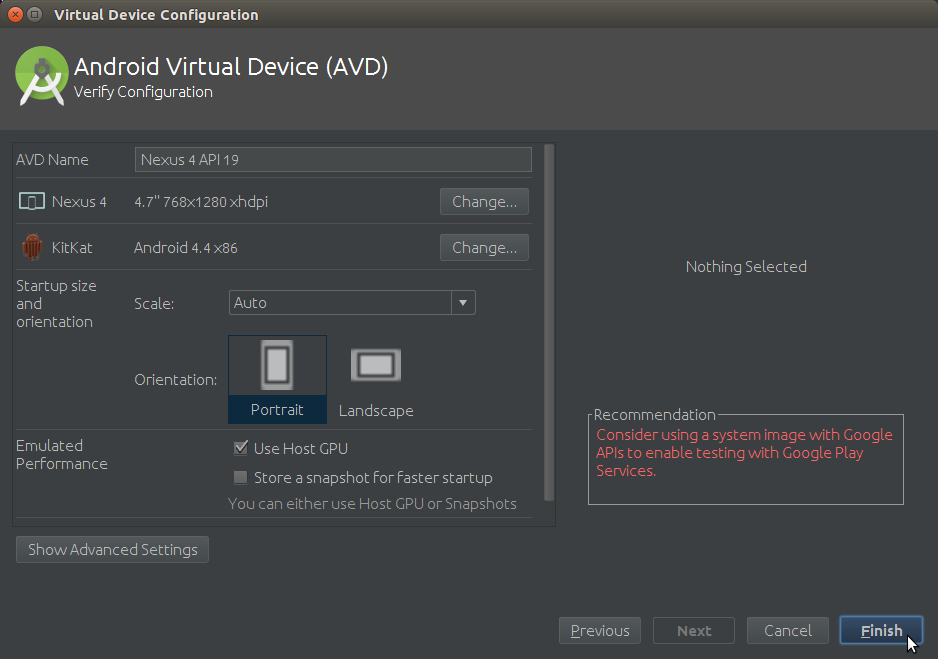 Android AVD Verify Device Configuration before Creation