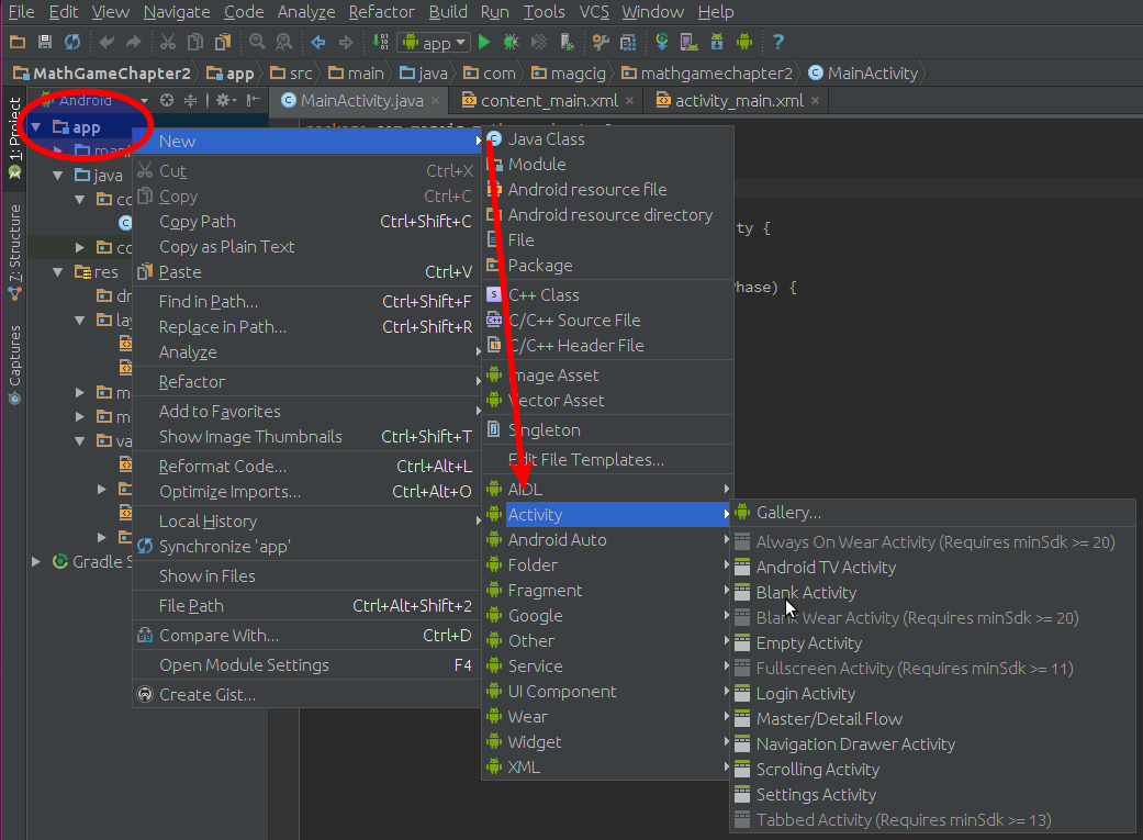 Making a New Activity on Android Studio Project - Shot