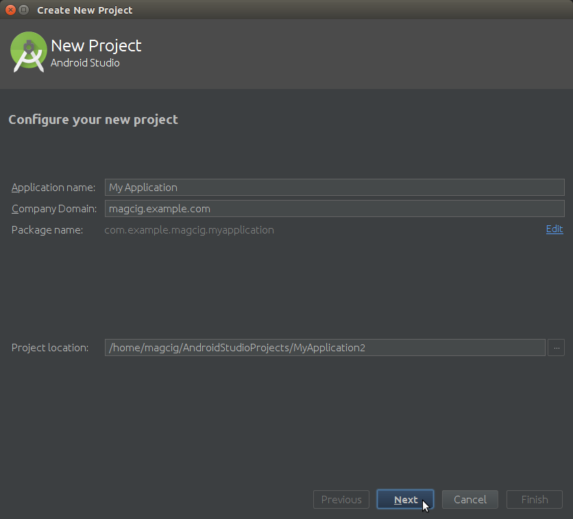 Android Studio How to Create a New Android Project - Configure the Project