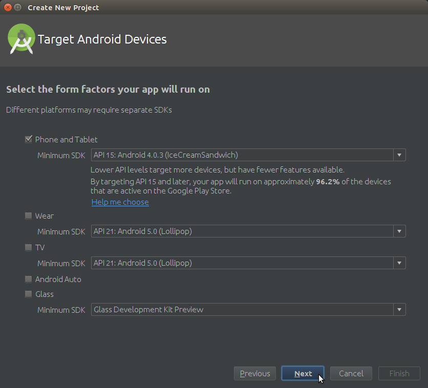 Android Studio How to Create a New Android Project - Select Target Android Device Type and minum Android SDK API