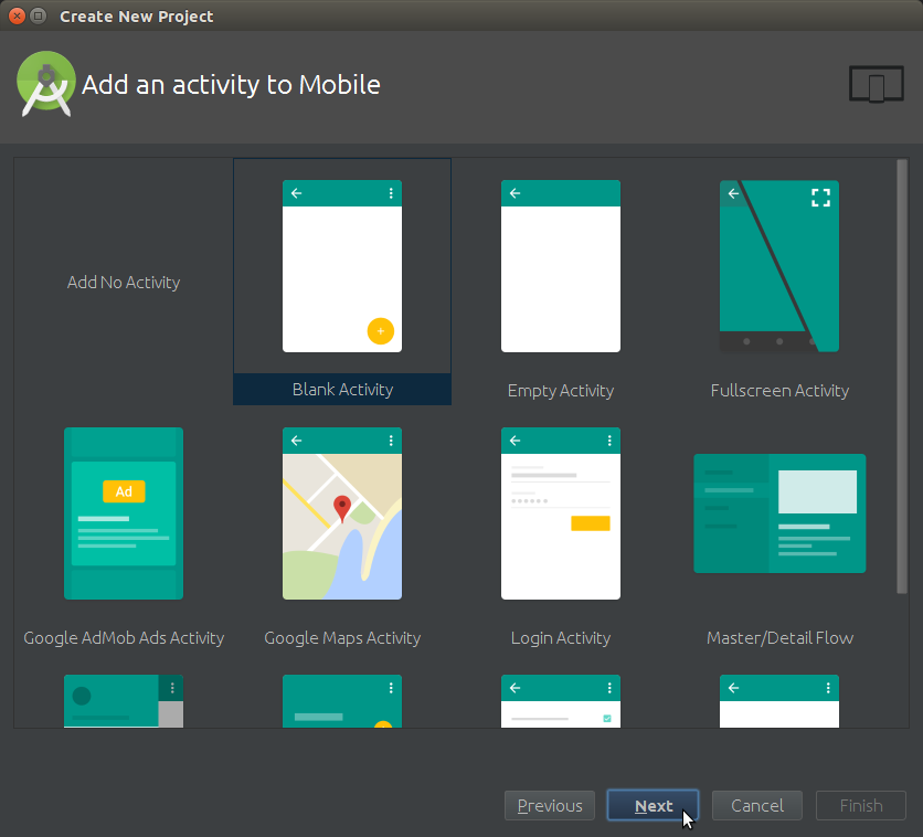 Android Studio How to Create a New Android Project - Add an Activity