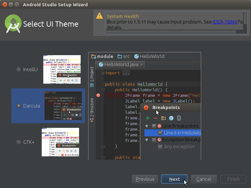 How to Properly Make the First, SetUp on Android Studio IDE for Linux - Theme