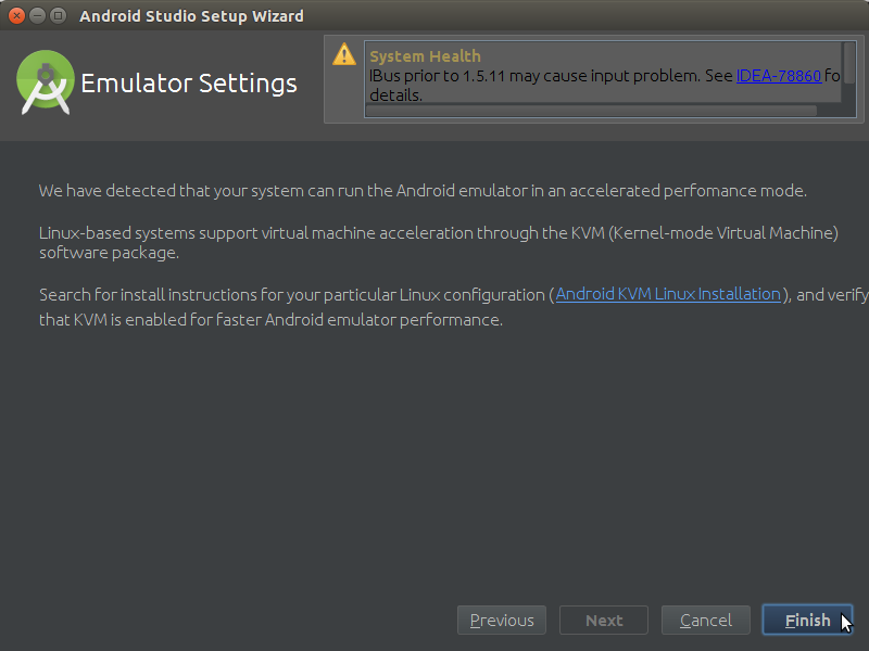 How to Properly Make the First, SetUp on Android Studio IDE for Linux - Notice about Enabling KVM