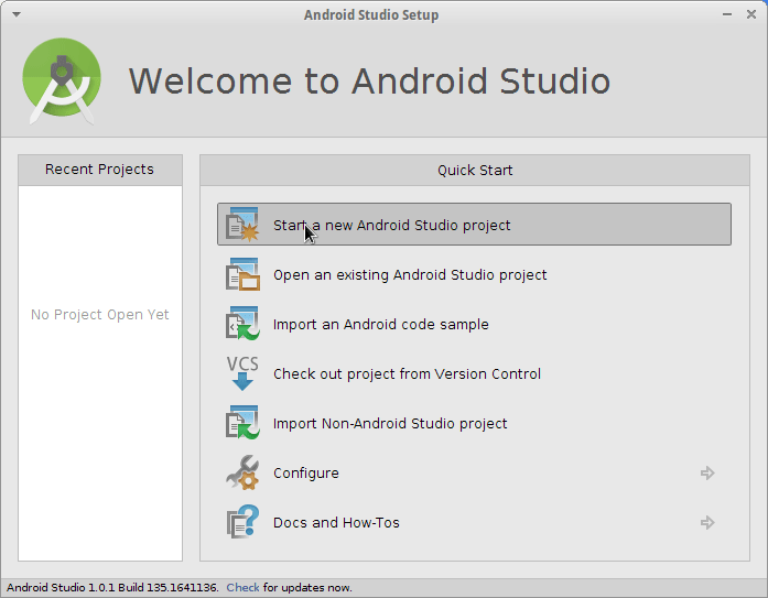 Linux Android Studio IDE Quick Start with Hello World App Example - Create New Android Studio Project