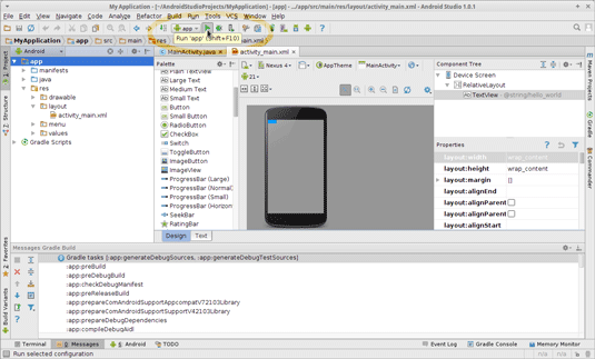 Linux Android Studio IDE Quick Start with Hello World App Example - running app