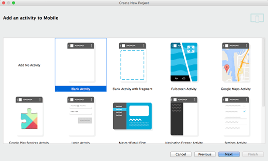 Hello World App on Android Studio IDE for Mac OS X - create blank activity