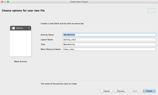 android studio ide for mac os x quick-start hello world - naming and options