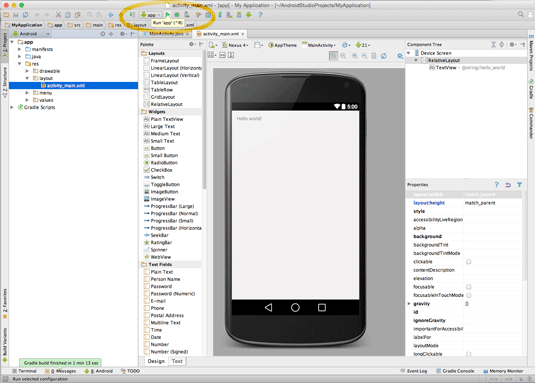 android studio ide for mac os x quick-start hello world - running app
