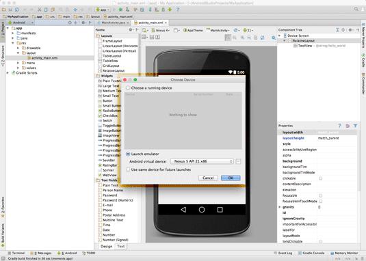 android studio ide for mac os x quick-start hello world - choose emulator