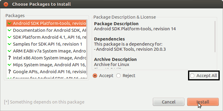 Install Android SDK Tools Only Debian Tumbleweed - Select Android SDK Features