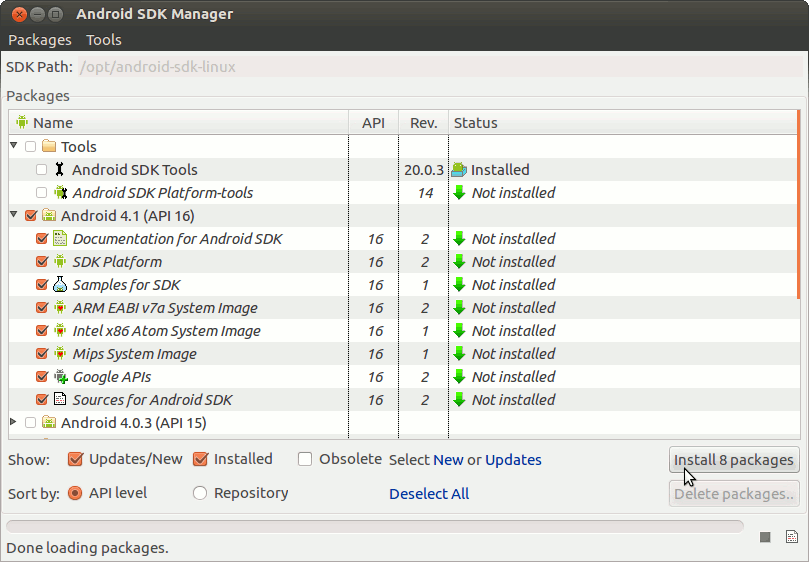 Install Android SDK Tools Only Debian Tumbleweed - Start Android SDK Manager