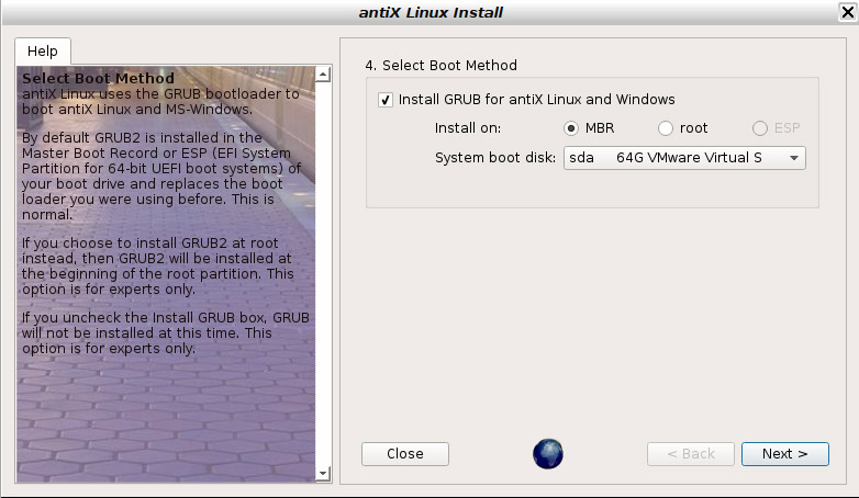 How to Install antiX 17 on VMware Workstation Step by Step - Install Grub MBR
