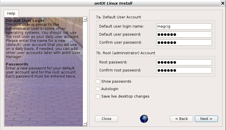 How to Install antiX 17 on VMware Workstation Step by Step - Set User and Root Accounts