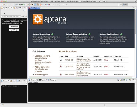 Install Aptana Studio 3 on Mac OS X 10.10 Yosemite - Mac Aptana Studio 3 IDE GUI