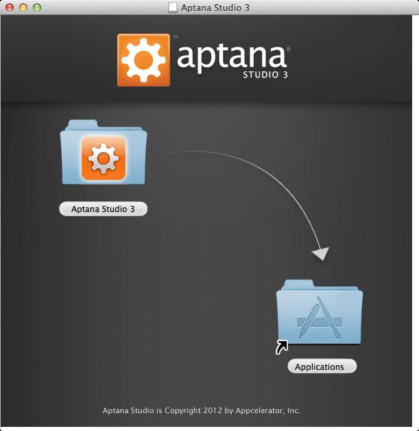 Install Aptana Studio 3 on Mac OS X 10.10 Yosemite - Drag and drop