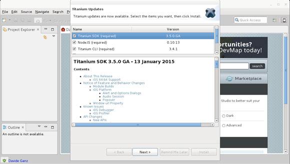 Appcelerator Titanium Linux Quick Start - First, Launch