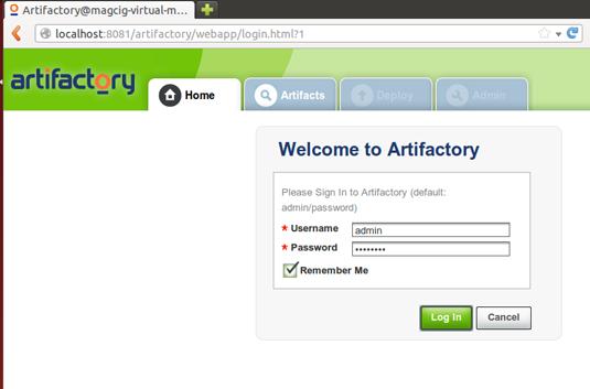 Artifactory Quick Start on Ubuntu 14.04 Trusty LTS - Login Admin Web UI