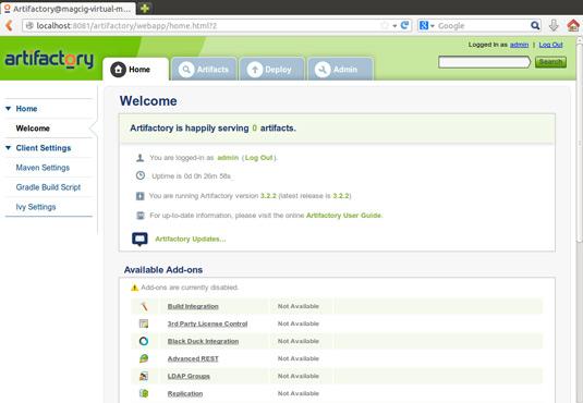 Artifactory Quick Start on Ubuntu 14.04 Trusty LTS - Artifactory Admin Web UI Manage Repos