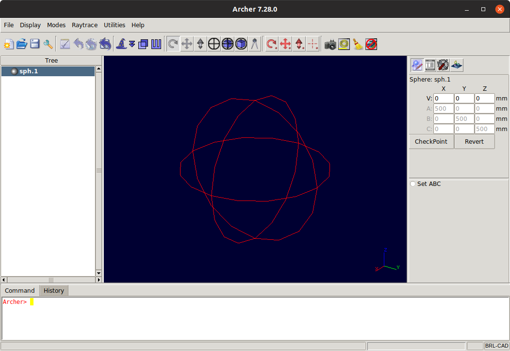 BRL-CAD GUI Getting Started Guide for GNU/Linux Systems - Displaying Sphere