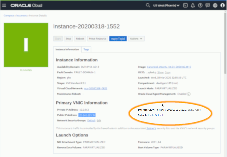 Oracle OCI Compute Ubuntu 18.04 Instance Open Port 443 - Instance Details