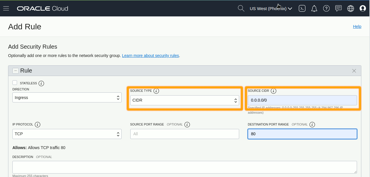 Oracle OCI Compute Ubuntu 18.04 Instance Open Port 443 - Adding Port 443 Rule