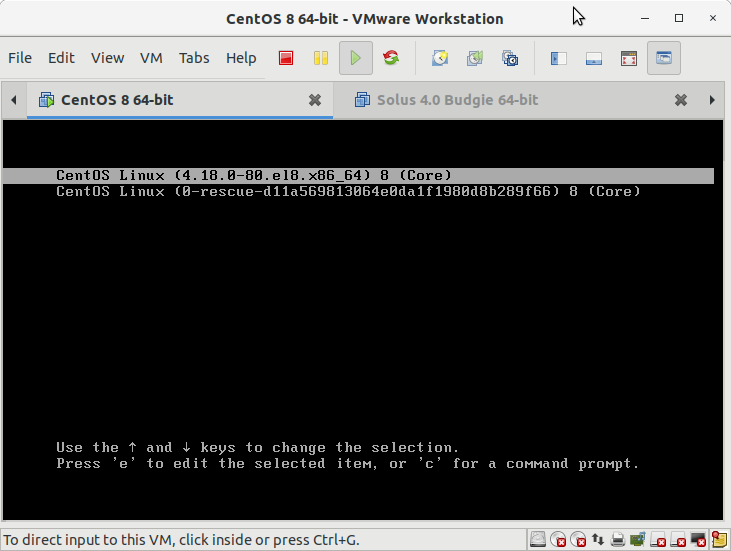 CentOS 8 Boot Single User Mode Easy Guide - CentOS Grub Splash