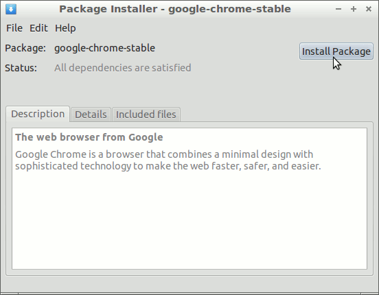 How to Install Google-Chrome on LXLE Linux 16.04 - GDebi Installing Chrome .deb Package