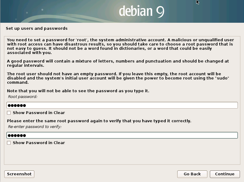 How to Install Debian Stretch 9 Alongside Windows 8 - root user pass