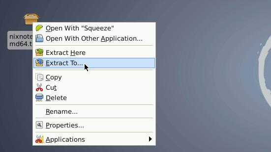 Debian Xfce Desktop Extract Evernote tar.gz