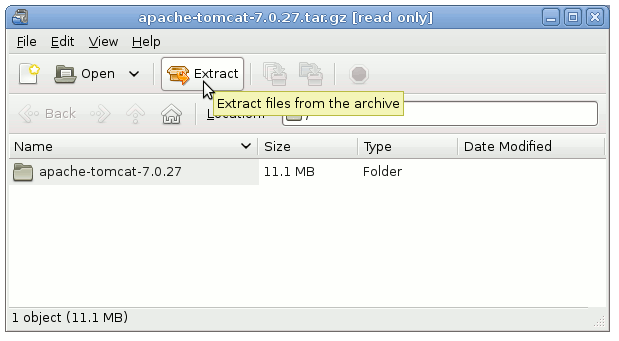 How to Install Tomcat 7 on Fedora Linux GNOME Extraction