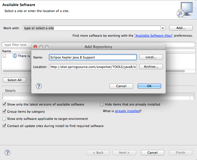 Enabling Eclipse Java 8 Support - Eclipse 2021-03 R IDE Add Java 8 Support Repository