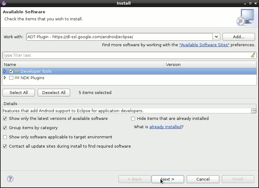 Eclipse Install Android ADT Plugin - Eclipse Select Stuff to be Installed