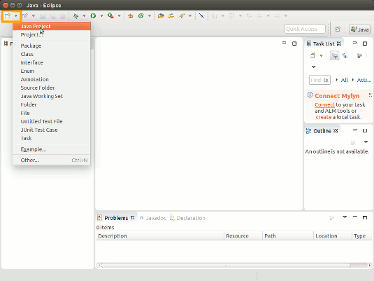 Ubuntu Java Eclipse Quick Start with Hello-World - Create New Java Project