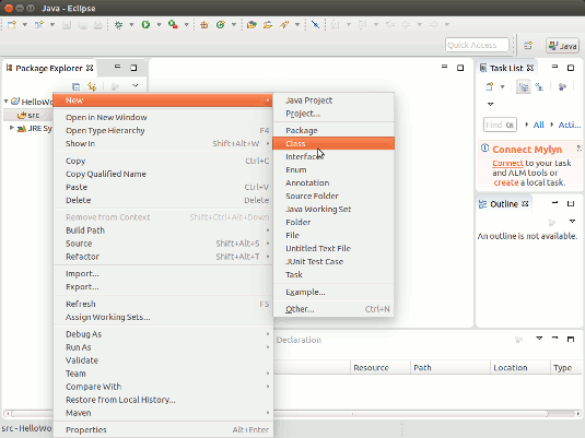 Ubuntu Java Eclipse Quick Start with Hello-World - Create New Java Class