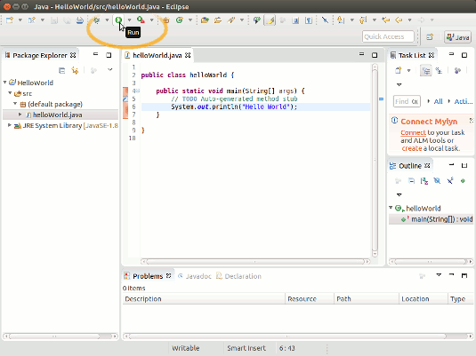 Java Eclipse Quick Start with Hello-World on Linux - Running